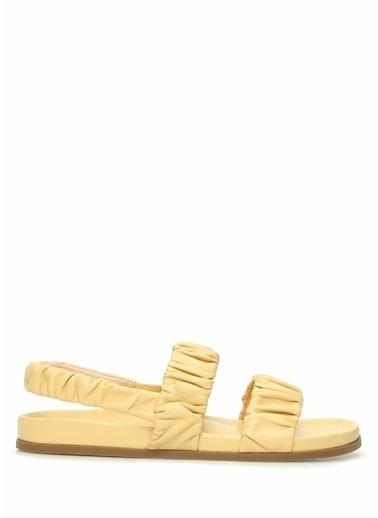 Rodo Rodo  Drape Bantlı Kadın Deri Sandalet 101614213 Sarı
